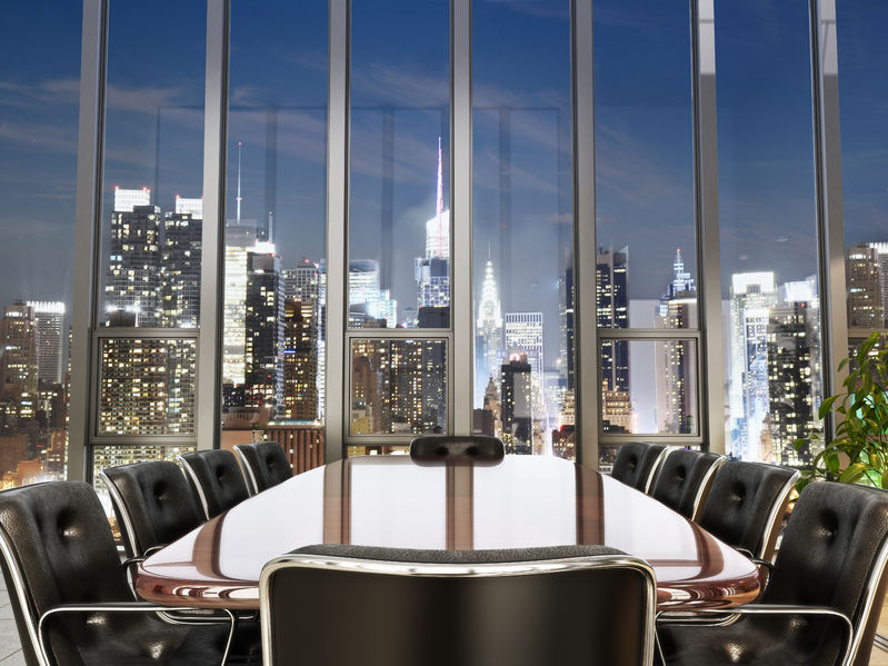 44123622 - business office conference room with table and leather chairs overlooking a city at dusk. photo realistic 3d model scene.