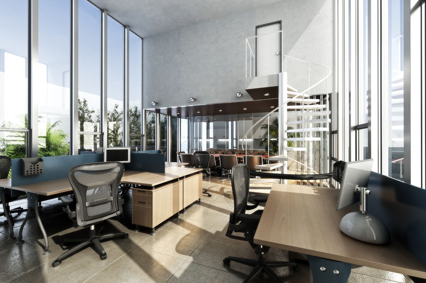 40862966 - open interior furnished modern office with large ceilings and windows . photo realistic 3d rendering