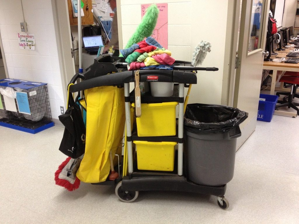 janitor, cart, cleaning
